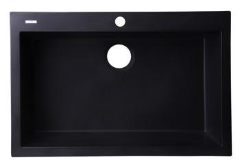 """ALFI brand AB3020DI-BLA Black 30"""" Drop-In Single Bowl Granite Composite Kitchen Sink"""