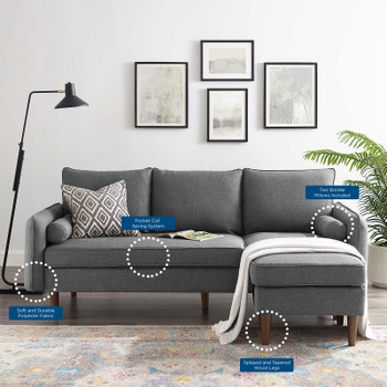 Revive Upholstered Right or Left Sectional Sofa EEI-3867-GRY Gray