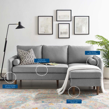 Revive Upholstered Right or Left Sectional Sofa EEI-3867-LGR Light Gray