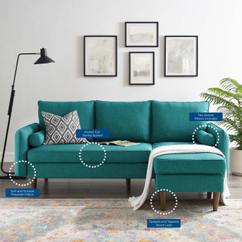 Revive Upholstered Right or Left Sectional Sofa EEI-3867-TEA Teal