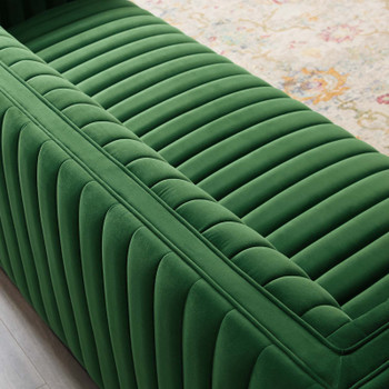 Conjure Channel Tufted Velvet Sofa EEI-3885-EME Emerald