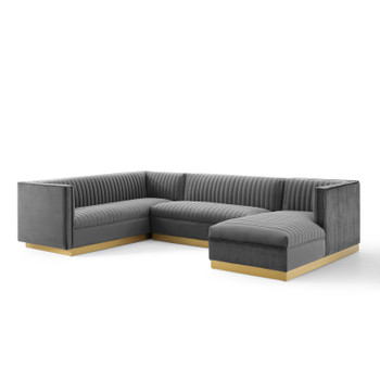 Sanguine 3 Piece Performance Velvet Sectional Sofa Set EEI-3921-GRY Gray