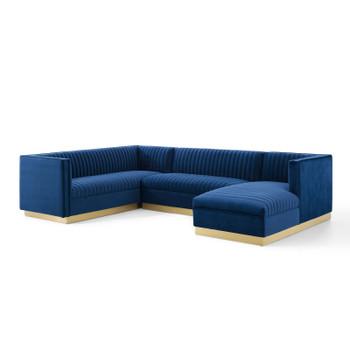 Sanguine 3 Piece Performance Velvet Sectional Sofa Set EEI-3921-NAV Navy