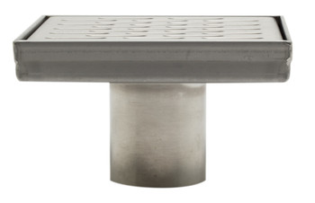 "ALFI brand ABSD55C-BSS 5"" x 5"" Modern Square Stainless Steel Shower Drain with Groove Holes in Brushed Finish"