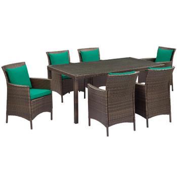 Conduit 7 Piece Outdoor Patio Wicker Rattan Dining Set EEI-4032-BRN-GRN-SET Brown Currant