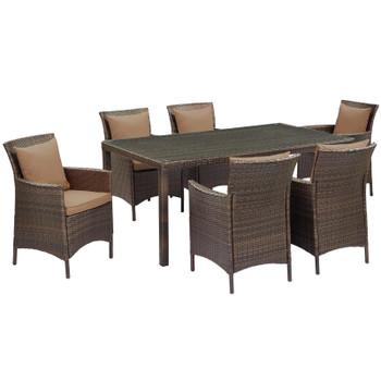 Conduit 7 Piece Outdoor Patio Wicker Rattan Dining Set EEI-4032-BRN-MOC-SET Brown Green