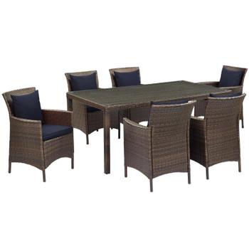 Conduit 7 Piece Outdoor Patio Wicker Rattan Dining Set EEI-4032-BRN-NAV-SET Brown Mocha