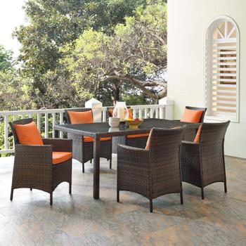 Conduit 7 Piece Outdoor Patio Wicker Rattan Dining Set EEI-4032-BRN-PER-SET Brown Orange