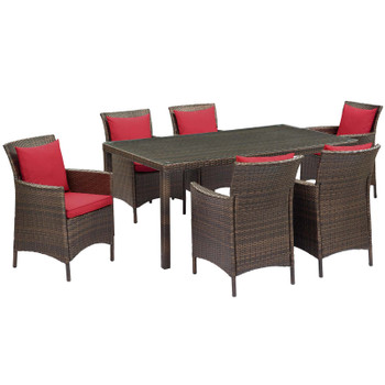 Conduit 7 Piece Outdoor Patio Wicker Rattan Dining Set EEI-4032-BRN-RED-SET Brown Peridot