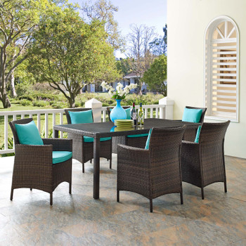 Conduit 7 Piece Outdoor Patio Wicker Rattan Dining Set EEI-4032-BRN-WHI-SET Brown Turquoise