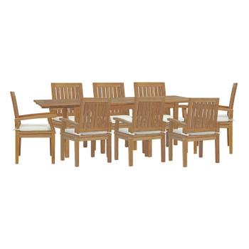 Marina 9 Piece Outdoor Patio Teak Dining Set EEI-4034-NAT-WHI-SET Brown White