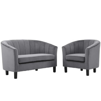 Prospect Channel Tufted Performance Velvet Loveseat and Armchair Set EEI-4146-GRY-SET Gray