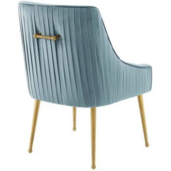 Discern Pleated Back Upholstered Performance Velvet Dining Chair Set of 2 EEI-4149-LBU Light Blue