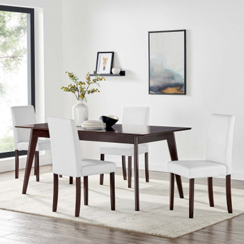 Prosper 5 Piece Faux Leather Dining Set EEI-4187-CAP-WHI Cappuccino White