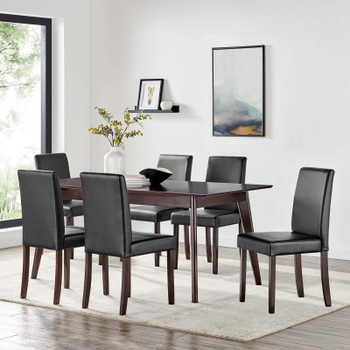 Prosper 7 Piece Faux Leather Dining Set EEI-4188-CAP-BLK Cappuccino Black