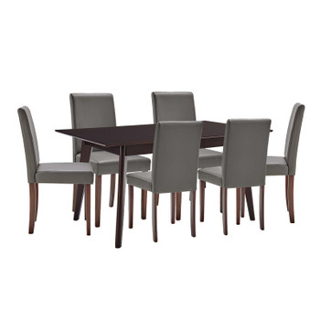 Prosper 7 Piece Faux Leather Dining Set EEI-4188-CAP-GRY Cappuccino Gray