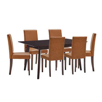 Prosper 7 Piece Faux Leather Dining Set EEI-4188-CAP-TAN Cappuccino Tan