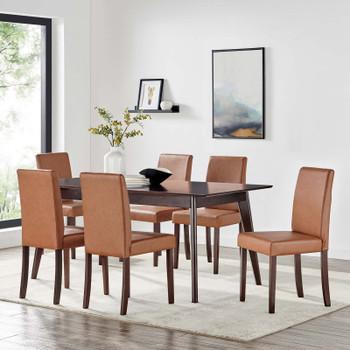Prosper 7 Piece Faux Leather Dining Set EEI-4188-CAP-TAN Cappuccino Tan