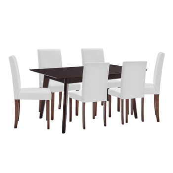 Prosper 7 Piece Faux Leather Dining Set EEI-4188-CAP-WHI Cappuccino White