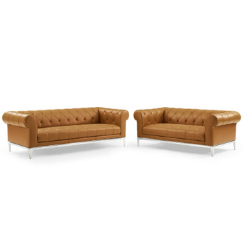 Idyll Tufted Upholstered Leather Sofa and Loveseat Set EEI-4189-TAN-SET Tan