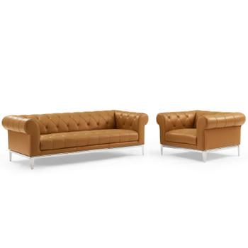 Idyll Tufted Upholstered Leather Sofa and Armchair Set EEI-4191-TAN-SET Tan