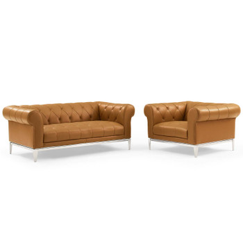 Idyll Tufted Upholstered Leather Loveseat and Armchair EEI-4193-TAN-SET Tan
