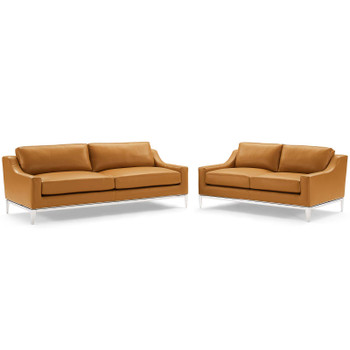 Harness Stainless Steel Base Leather Sofa and Loveseat Set EEI-4196-TAN-SET Tan