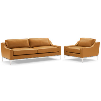 Harness Stainless Steel Base Leather Sofa & Armchair Set EEI-4198-TAN-SET Tan