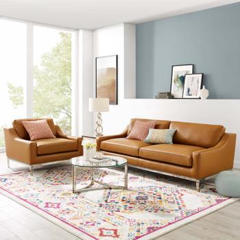 Harness Stainless Steel Base Leather Sofa & Armchair Set EEI-4198-TAN-SET Tan