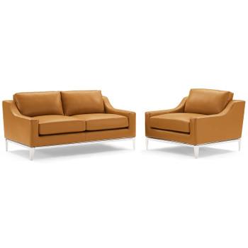 Harness Stainless Steel Base Leather Loveseat & Armchair Set EEI-4200-TAN-SET Tan