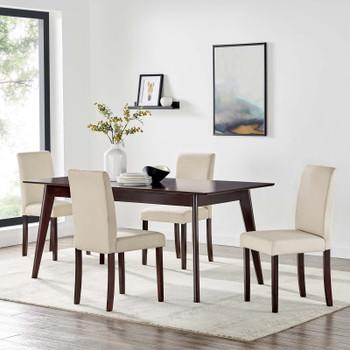 Prosper 5 Piece Upholstered Fabric Dining Set EEI-4285-CAP-BEI Cappuccino Beige