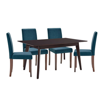 Prosper 5 Piece Upholstered Fabric Dining Set EEI-4285-CAP-BLU Cappuccino Blue