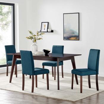 Prosper 5 Piece Upholstered Fabric Dining Set EEI-4285-CAP-BLU Cappuccino Blue