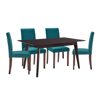 Prosper 5 Piece Upholstered Fabric Dining Set EEI-4285-CAP-TEA Cappuccino Teal