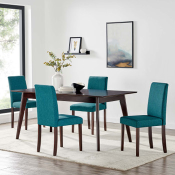 Prosper 5 Piece Upholstered Fabric Dining Set EEI-4285-CAP-TEA Cappuccino Teal