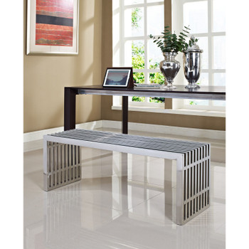 Gridiron Large Stainless Steel Bench EEI-570-SLV Silver