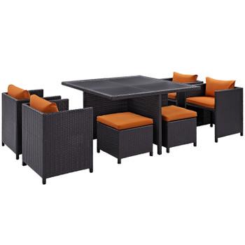 Inverse 9 Piece Outdoor Patio Dining Set EEI-726-EXP-ORA Espresso Orange