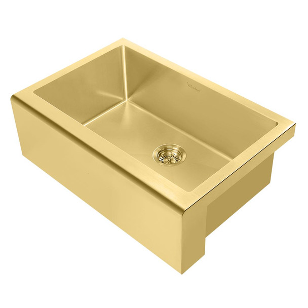 Noah Plus 16 gauge-Brass Finish- Single Bowl Undermount Sink Set with a seamless customized front Apron,WHNPL3020-B