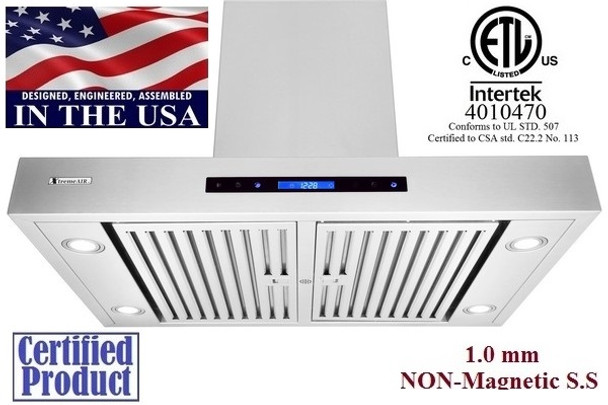 """XtremeAir PX06-I36, 36"""" Wide, Easy Clean swing-able baffle Filters, Stainless Steel, Island Mount Range Hood"""