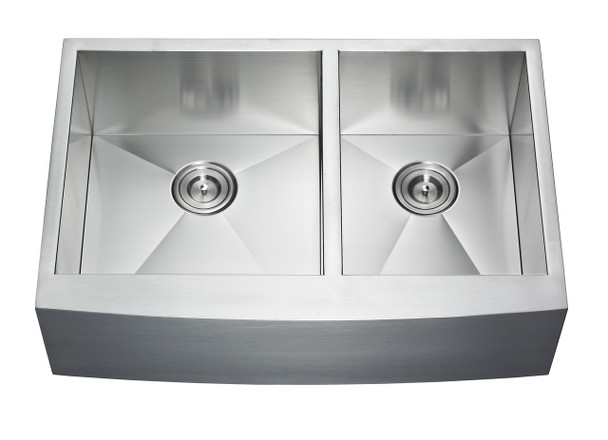 "33″ X 22"" St. Steel 16 Gauge Double Bowl Farm/Apron Sink,AP3322BL-33BL"