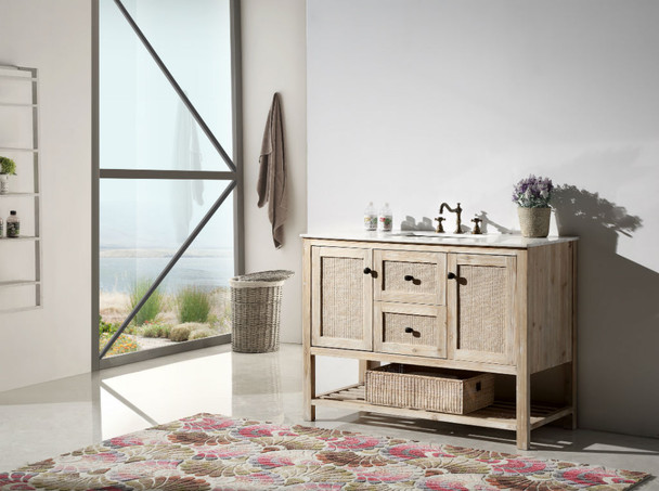 """Legion Furniture WH5148 48"""" SOLID WOOD SINK VANITY WITH MARBLE TOP-NO FAUCET"""