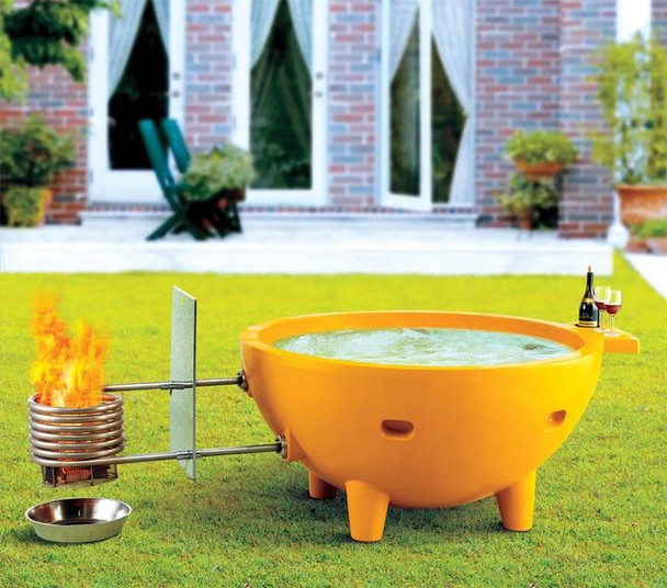 ALFI brand FireHotTub-OR The Round Fire Burning Portable Outdoor Hot Bath In Orange Tub