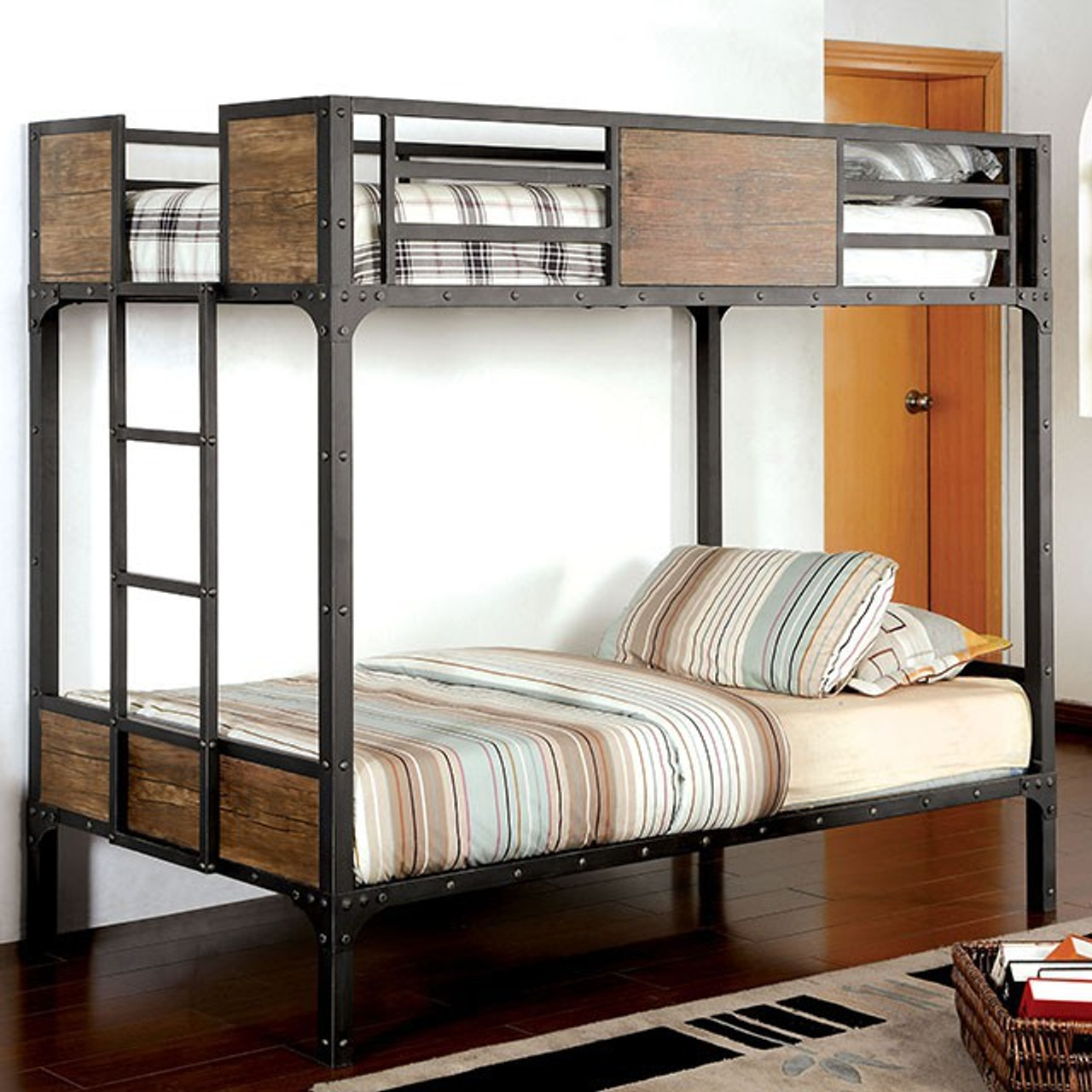 Picture of: Furniture Of America Clapton Bunk Bed Black Wood Kids N Cribs