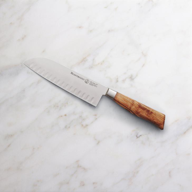 Messermeister Oliva Elite Kullenschliff Santoku Knife 7 Inch