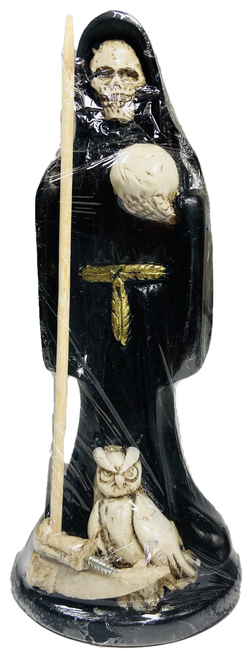 """Santa Muerte With Owl Statue For Making Positive Changes & Brighter Future 6"""" (Black)"""