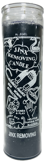 Jinx Removing 7 Day Prayer Candle For Run Devil Run, Compelling, Lucky Cat, Helping Hands, Spiritual Power, ETC. (Black)