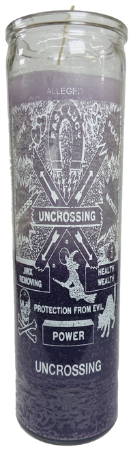 Uncrossing Power 7 Day Prayer Candle For Jinx Removing, Fast Luck, Protection From Evil, Get Rid Of Negative Influences, ETC. (Two Tone Purple)