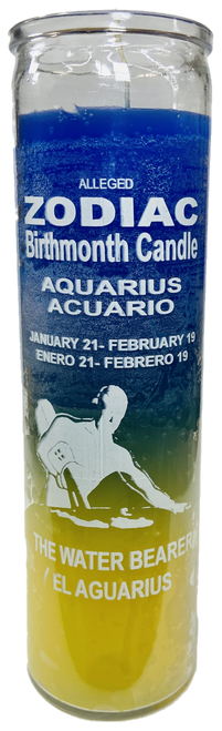 Aquarius The Water Bearer January 21 to February 19 Astrology Zodiac Sign 7 Day Prayer Candle