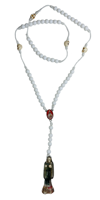 """Santa Muerte Holy Death Spiritual Rosary Necklace For Making Positive Changes & Brighter Future (White With 2"""" Figure Pendant)"""