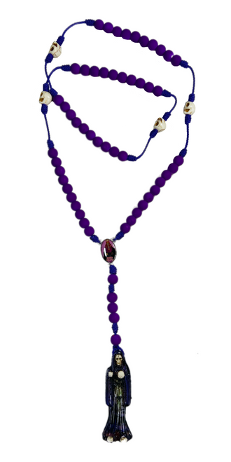 "Muerte Holy Death Spiritual Rosary Necklace For Making Positive Changes & Brighter Future (Purple With 2"" Figure Pendant)"